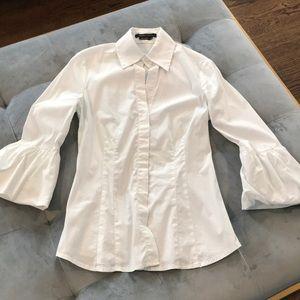 BCBG White Button Shirt Balloon Bell Sleeve XXS